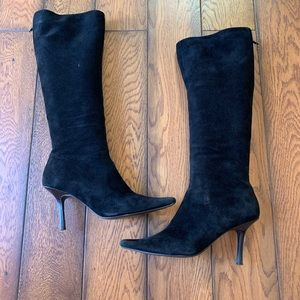 ALDO tall black suede heeled boots